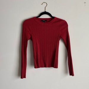 F21 Ribbed Round Neck Sweater Rust NWOT
